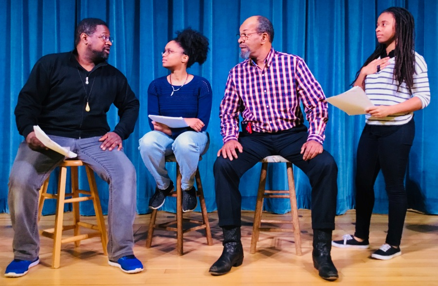 L-R: Marlon Carey, Fatima Faris, Hurtis Mitchner and Daraja Hinds in The Hate You Give, Barrington Public Library